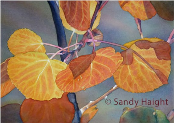 Original Watercolor, aspen, leaves, tree, Rockies, fall, orange, autumn, painting, wall art, home decor, gift, frame, Yellowstone, 2D, art