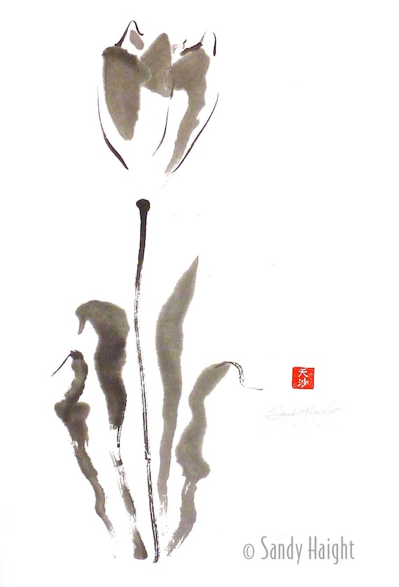 Original Sumi Painting, Big Tulip, art, nature, floral, spring, Asian, black & white, flower, bloom, brush and ink, wall, home decor, spring