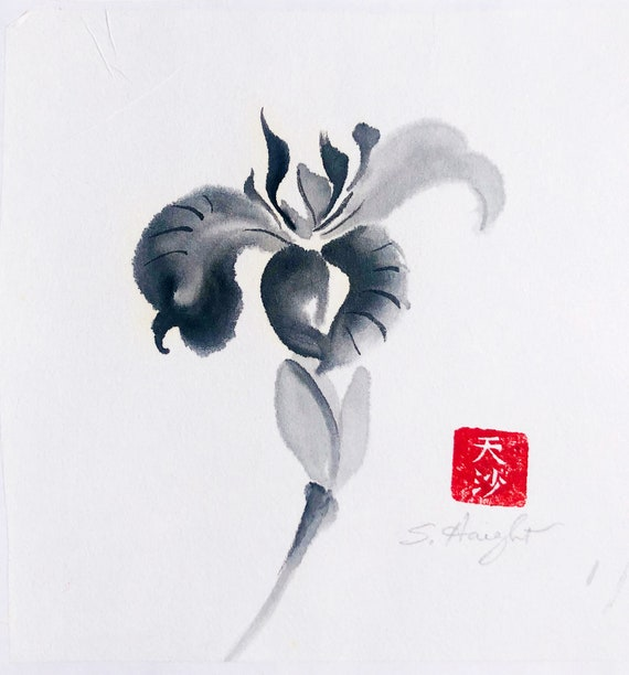 Original Sumi Painting, Orchid bloom, Japanese brush art, Asian, black & white, ink, flower, gift, home decor, wall art, small art, unframed
