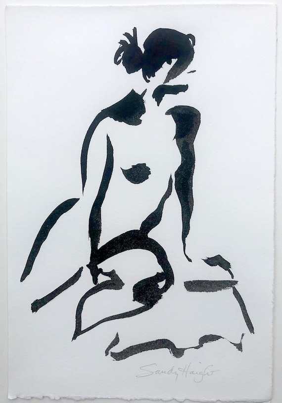 Original Sumi Figure Painting, 25% OFF SALE! art, female, nude, frontal, black & white, ink, wall art, life drawing, home decor, unframed