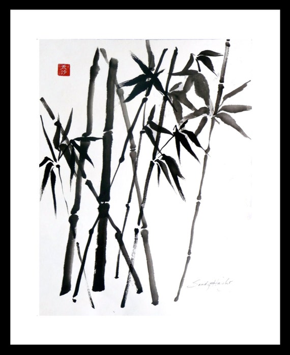 Original Framed Sumi Brush Painting, Crossed Bamboo, art, black & white, nature, plant, Japanese, line, drawing, Ink, home decor, wall art