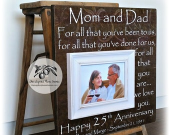 25th Anniversary Gifts for Parents, Silver Anniversary Gift, 25th Wedding Anniversary Gift, Anniversary Keepsake Frame 16x16