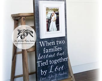 Parents Wedding Gift, Wedding Thank You Gift, Personalized Picture Frame, Mother of the Bride, Father of the Bride, 8x20