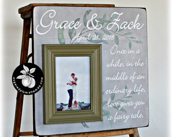 Wedding Gift for Couple, Unique Anniversary Gift, Once in a While in The Middle of an Ordinary Life, Quote Picture Frame  16x16
