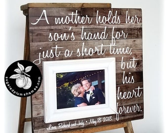 Mother of the Groom Gift From Son, Wedding Gift from Groom To Mom, A Mother Holds Her Son's Hand, Picture Frame, 16x16 Sugared Plums Frames