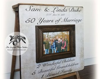 50 Anniversary Gifts, Parents Anniversary Gift, For All That You Have Been To Us, Anniversary Frame, 16x16 THE SUGARED PLUMS