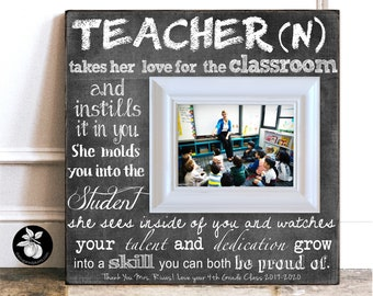 PERSONALISED Wooden Oak TEACHER PHOTO FRAME for THANK YOU Gifts for My Him Her