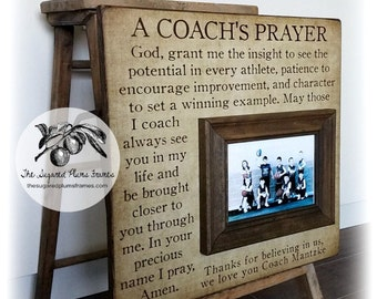 Football Coach Gift, Coach Thank You Gift, Coach Frame, A Coach's Prayer, 16x16 The Sugared Plums Frames