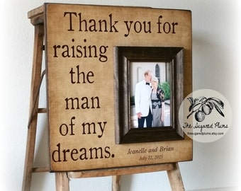 Personalized Picture Frame Thank You For Raising The Man Of My Dreams Mother of the Groom Gift 16x16  The Sugared Plums Frames