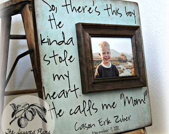 Mothers Day Gift Picture Frames Gift for Mom from Kids 'So There's This Boy' Quote 16x16