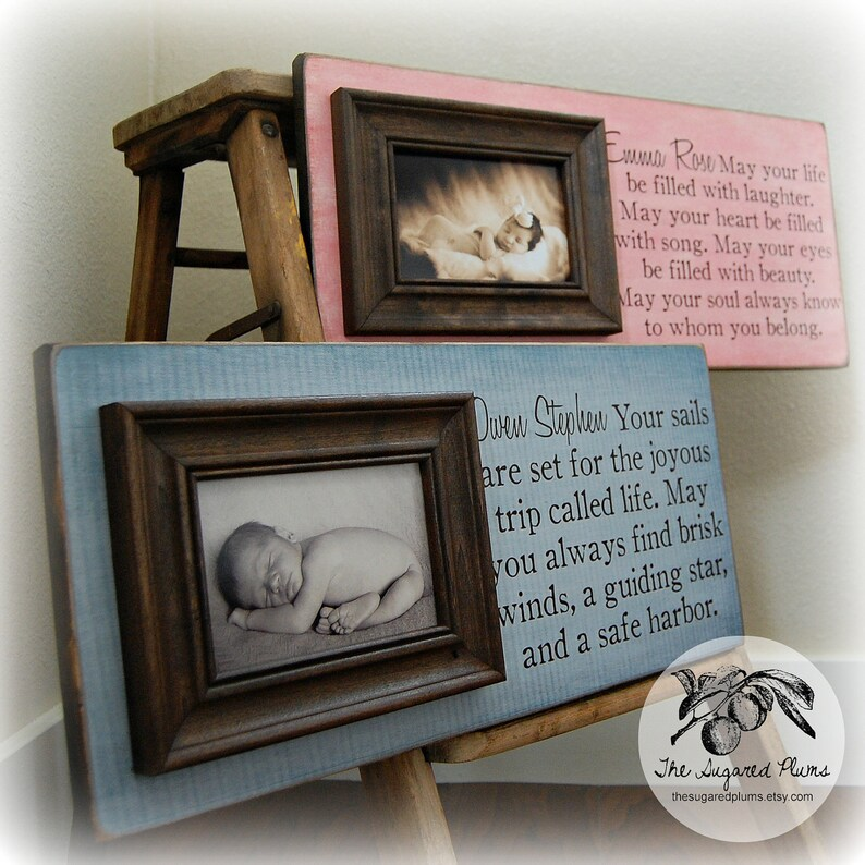 Twins Gift Personalized Picture Frame Custom 8x20 Baby Shower