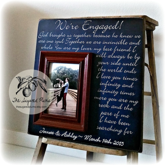 Engagement Gift Personalized Picture Frame Were Engaged Etsy