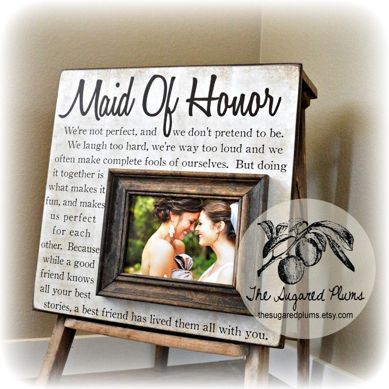 Personalized Maid of Honor Gift Personalized Picture Frame Matron of Honor Gift Bridesmaid Gift