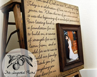 Parents Thank You Wedding Gift Personalized Picture Frame Today Is A Celebration Of Love Wedding Thank you for Parents Gift for Parents