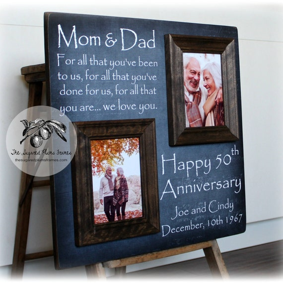 Then And Now Picture Frame 50th Anniversary Gift Gold Etsy