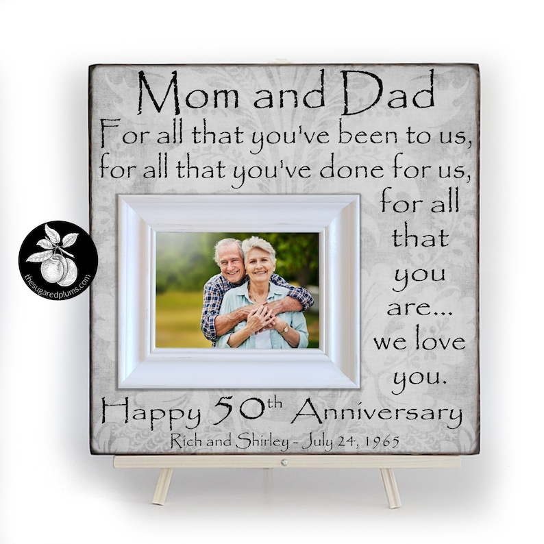 50th Anniversary Gifts for Parents Picture Frame Golden image 1