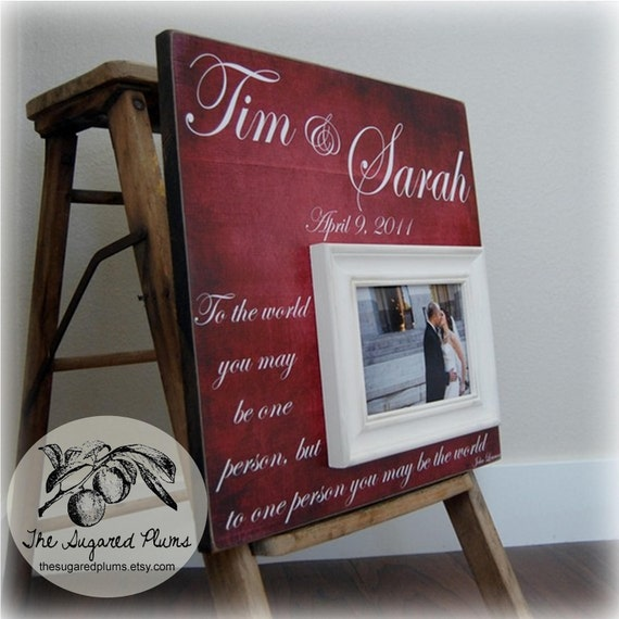 Unique Wedding Gift Idea For Couple Picture Frame Personalize Etsy