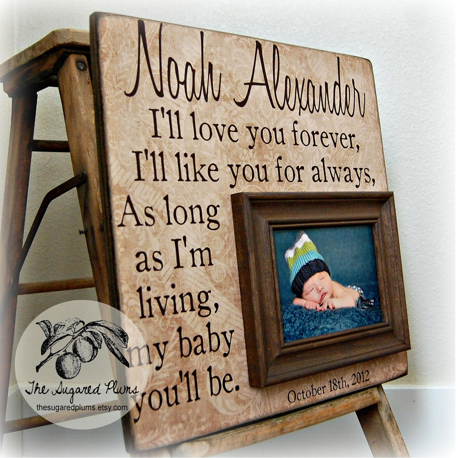 Baby Boy Frame Personalized 16x16 I\'ll LOVE YOU FOREVER | Etsy