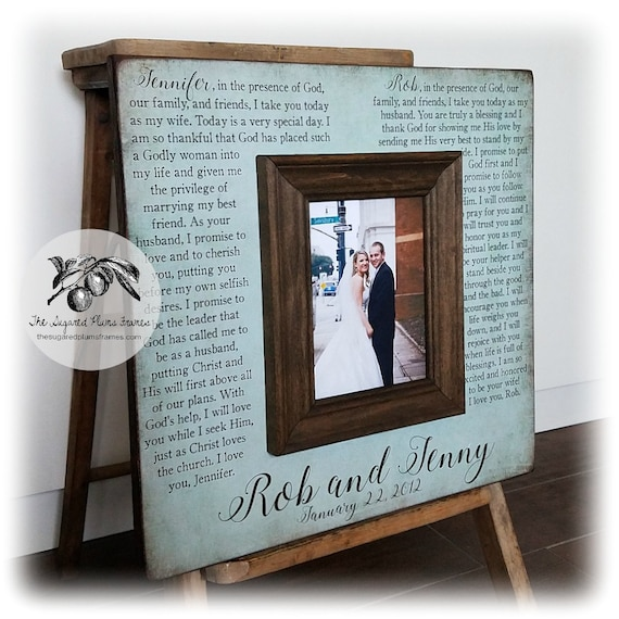 Anniversary Gifts For Men Wedding Vows Picture Frame 16x16 Etsy