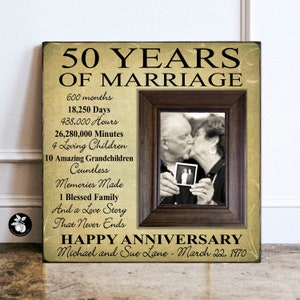 25th Anniversary Picture Frame 16x16 Golden Anniversary To the World 50th Anniversary Gifts Parents Anniversary Gift