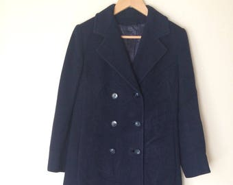 Vintage Women's Regency Navy Cashmere Double Breasted Long Coat Size Small Medium