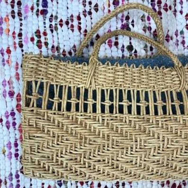 Vintage 90s Large Lined Straw Market Bag Tote 15x8x5