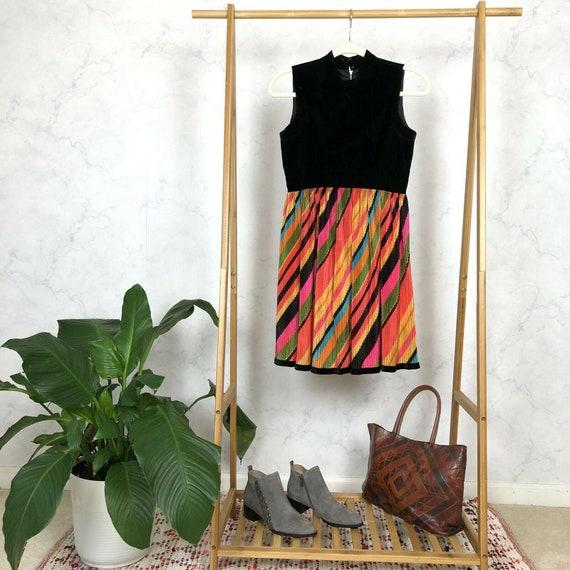 Vintage 60s Size S Rainbow Stripe Satin Velvet Moc