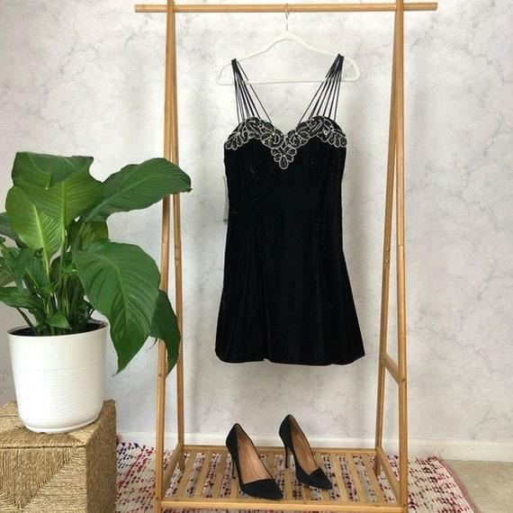 Vintage Deadstock 90s Size S/M Black Velvet Floral