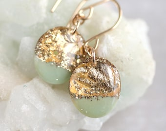 mint and gold leaf drop earrings on 14 karat gold fill ear wires