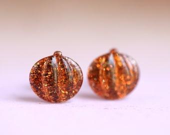Pumpkin glitter post earrings with sterling silver posts