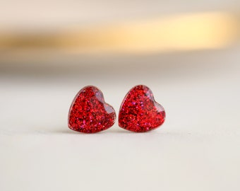 red glitter heart post earrings with sterling silver posts