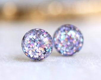 fairy purple glitter globe post earrings with sterling silver posts