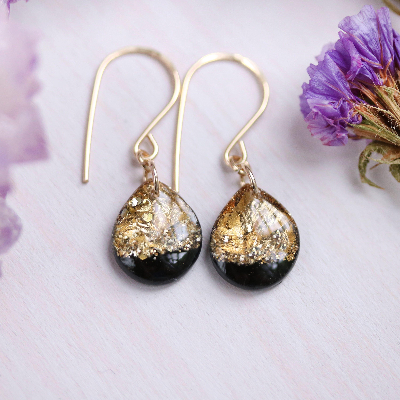 Lavender and Gold Leaf Teardrop Earrings