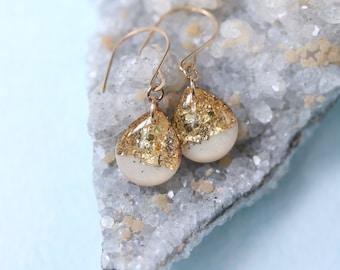 white and gold leaf teardrop earrings on 14 karat gold fill ear wires