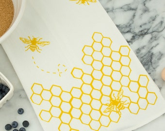 Bees with Honeycomb Cotton Tea Towel