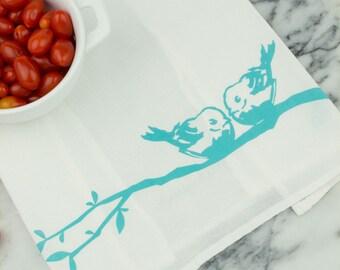 Lovebirds Cotton Flour Sack Tea Towel
