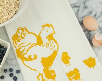 SALE: Hen with Chicks Tea Towel