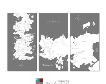 World map canvas giclee triptych grey and white etsy game of thrones known world map canvas giclee triptych grey and white gumiabroncs Images