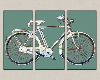 Seattle Street Map Bicycle Triptych Canvas Giclee - Retro Teal