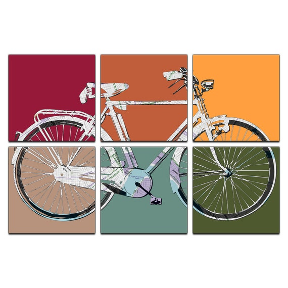 New Orleans Map Retro Bicycle Six Panel Canvas Giclee