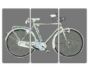 Portland Street Map Bicycle Triptych Canvas Giclee - Gray