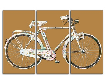 Houston Texas Street Map Bicycle Triptych Canvas Giclee - Mustard