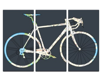 Boston Street Map Road / Racer Bicycle Triptych Canvas Giclee - Dark Gray
