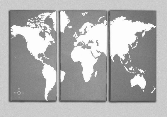 World map canvas giclee triptych grey and white etsy image 0 gumiabroncs Images