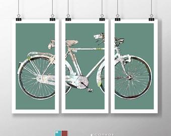 Retro Street Map Bicycle Art Triptych on Premium Archival Matte Paper - 18x36 Panels