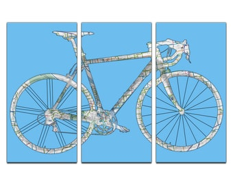 Portland Oregon Map Road Bicycle Triptych Canvas Giclee - Blue