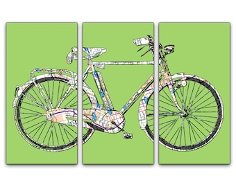 Atlanta Street Map Bicycle Triptych Canvas Giclee - Green