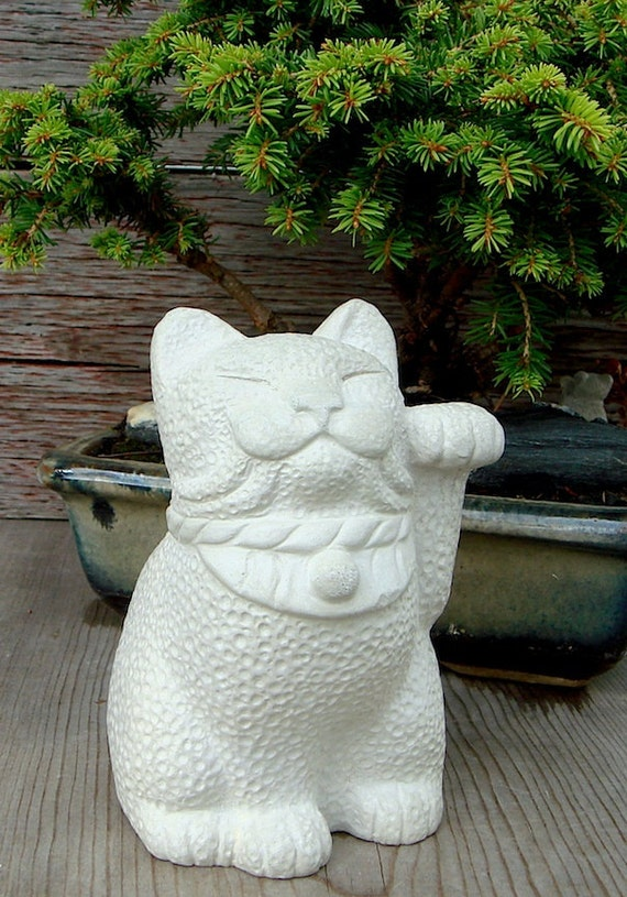 Maneki Neko Lucky Cat Japanese Bobtail Garden Sculpture By | Etsy