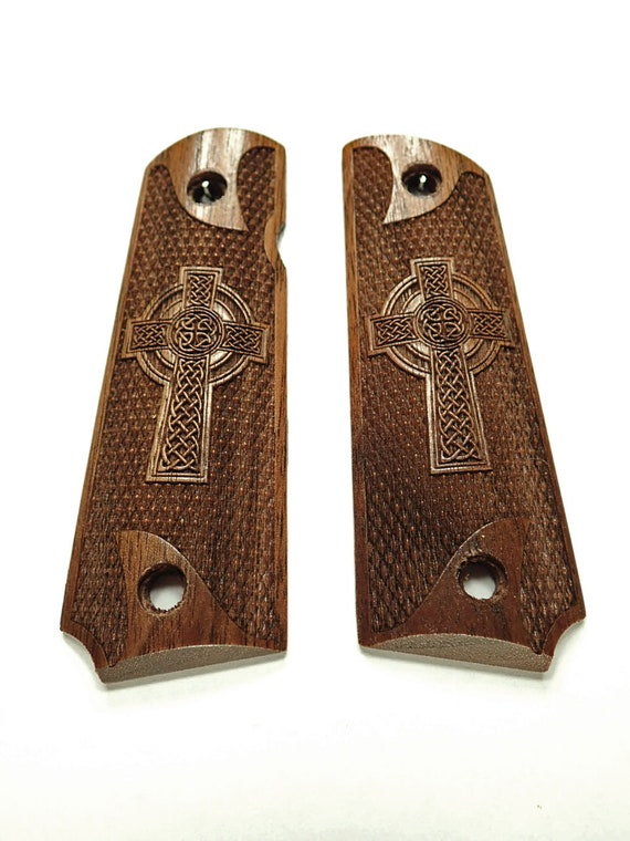 Celtic Cross Maple Browning 1911-22//380 Grips Checkered Engraved Textured