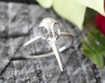 Bird Skull ring, skull ring, hummingbird ring, hummingbird skull, skull jewelry, halloween ring, gothic ring, silver bird skull ring,